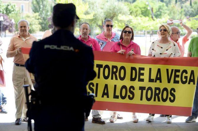 Un centenar de personas, principalmente vecinos de Tordesillas (Valladolid), ante las Cortes de Castilla y León a favor del Torneo del Toro de la Vega.