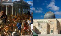 No hace falta ser historiador para saber que Jerusalén fue originalmente una ciudad judía que después tuvo conexiones con el cristianismo y, aún más tarde, y más débiles, con el islam. El Segundo Templo, terminado por el rey Herodes en el año 19 aec, fue destruido por los romanos en el 70 ec (como se refleja en el lienzo de Nicolas Poussin de 1626 –a la izquierda–). La actual mezquita de Al Aqsa (derecha) fue erigida en el año 705, 73 después de la muerte de Mahoma (632), y posteriormente reconstruida en varias ocasiones, tras ser dañada por terremotos. (Imágenes: Wikimedia Commons)
