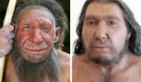 La fotografía muestra dos reconstrucciones de Hombres de Neanderthal del museo Neanderthal de Mettmann, en Bonn, Alemania.