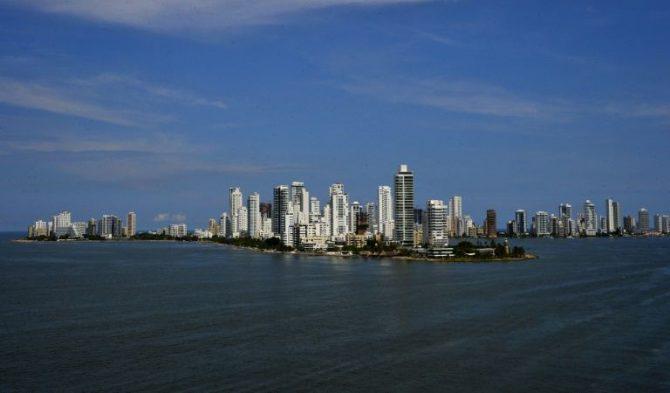 Vista general de la bahia de la ciudad de Cartagena de Indias, en el caribe de Colombia
