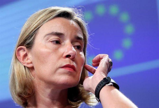 La jefa de la diplomacia europea, Federica Mogherini, durante una rueda de prensa sobre las relaciones entre la Unión Europea (UE) y Túnez, en Bruselas, Bélgica
