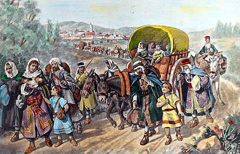 Grabado de la expulsión de los judíos.
