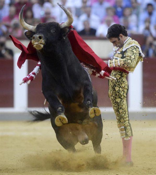 El diestro José Tomás torea con la muleta a su segundo toro durante la tercera corrida de la Feria de la Virgen de San Lorenzo de Valladolid en donde ha compartido cartel con José Mari Manzanares y el rejoneador Leonardo Hernández.