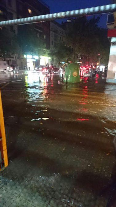 La hojarasca y la basura  impiden que los imbornales engullan las aguas pluviales en Valencia.