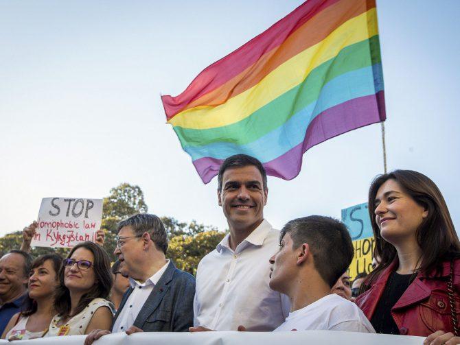 Pedro Sánchez en la marcha del orgullo gay.