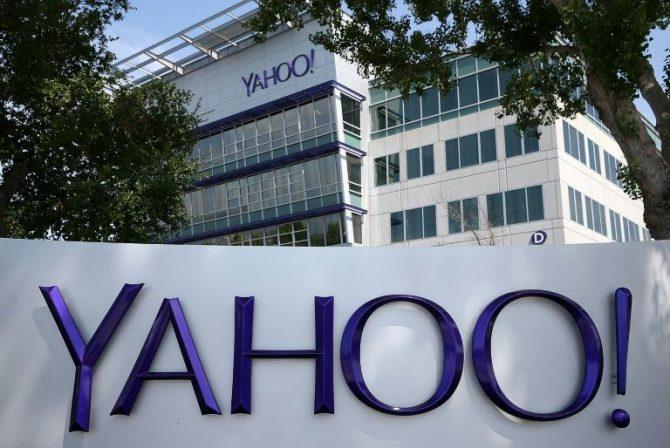 Un logotipo de Yahoo situado frente a la sede central de la empresa, el 23 de mayo del año 2014 en la localidad californiana de Sunnyvale, al oeste de EEUU