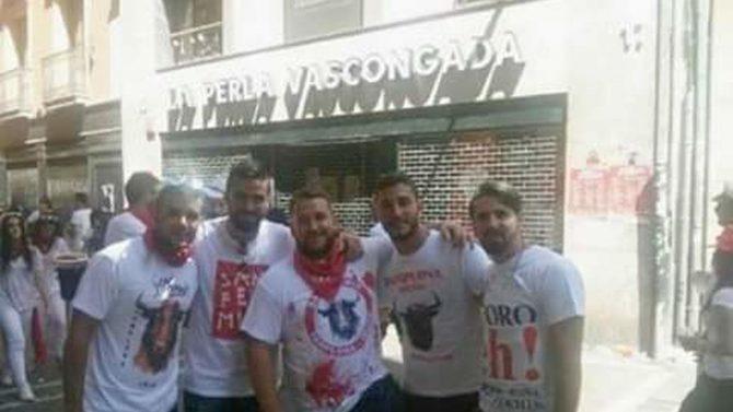 De izquierda a derecha: Ángel Boza Florido, Jesús Escudero Domínguez, José Ángel Prenda Martínez, el militar Alfonso Jesús Cabezuelo Entrena y el guardia civil Antonio Manuel Escudero Domínguez.