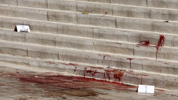Restos de sangre en el lugar del asesinato.