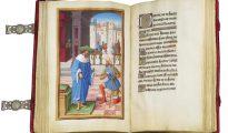 Imagen facilitada por la Casa de Galicia de Madrid de la edición clonada del Libro de horas de Enrique IV de Francia, que forma parte de la exposición 'Tesoros bibliográficos. El arte y el genio al servicio del poder'.