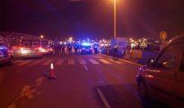 Antidisturbios en el puerto, tras ser avisados de los altercados.