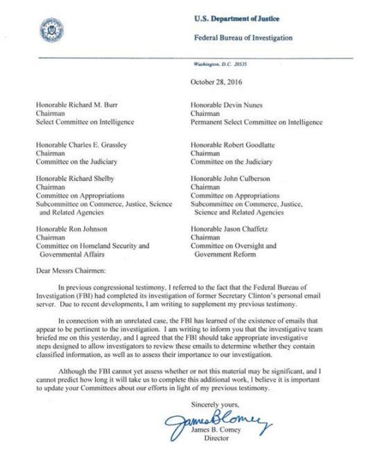 James B. Comey envió la carta a miembros del Senado norteamericano
