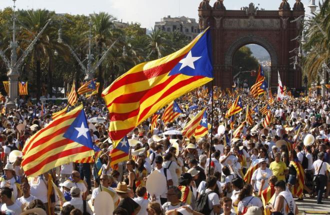 Concentración en Barcelona , en la Diada del 11 Septiembre del 2016.
