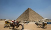La pirámida de Keops el 31 de agosto de 2016 en Giza, a las afueras de El Cairo