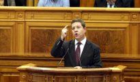 El presidente de Castilla-La Mancha, Emiliano García-Page, durante su intervención el miércoles en el debate sobre el estado de la Comunidad