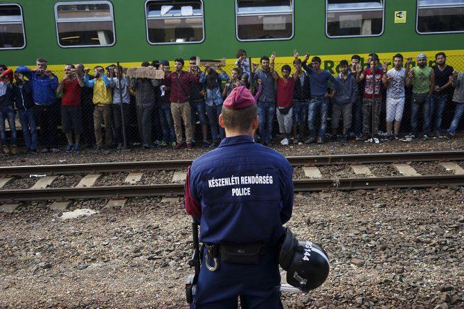 Protesta de inmigrantes en la estación ferroviaria de Keleti, Budapest (4 de septiembre de 2015).