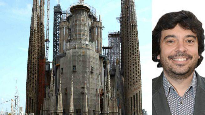 Imagen de la Sagrada Familia y del concejal socialista Dani Mòdol
