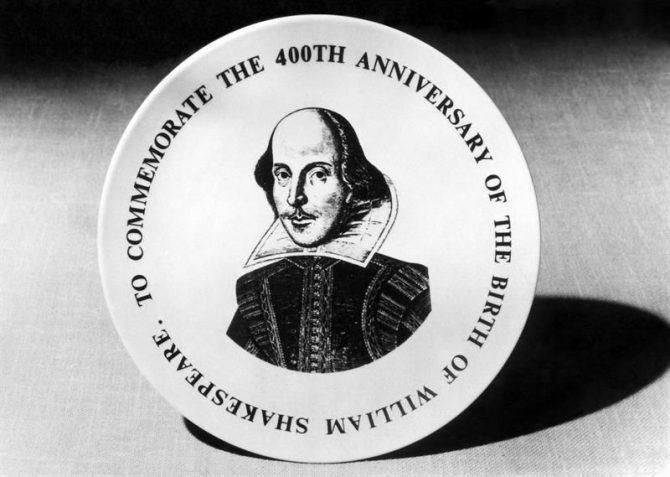 Medalla conmemorativa del dramaturgo británico William Shakespeare.