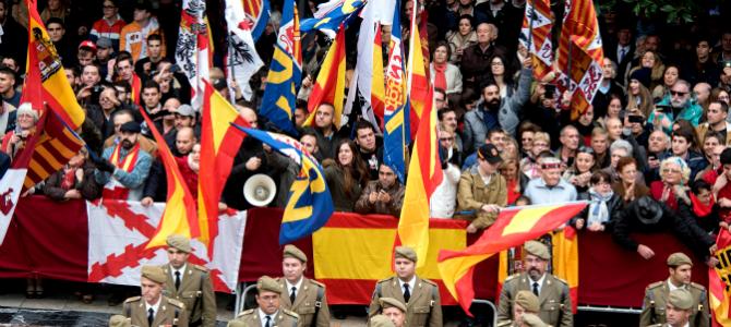 Nacionalistas españoles celebrando el Día de la Toma en Granada.