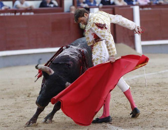 El diestro Eugenio de Mora da un pase a uno de sus toros en el segundo festejo de la Feria de Otoño de Las Ventas, con toros de la ganadería de Fuente Ymbro.