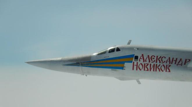 Uno de los bombarderos 'Tu160 Blackjack' en una imagen difundida por el Ministerio de Defensa francés.