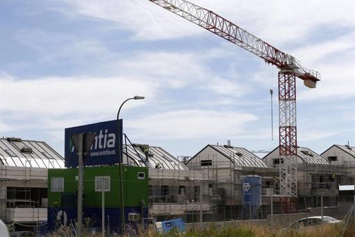 Viviendas en construcción en Valdebebas, Madrid.