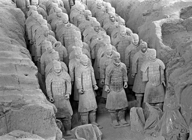 Vista general de los guerreros de Xian.