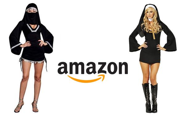 Encuentra la vestimenta ofensiva... o la hipocresía. La empresa de ventas online Amazon retiró el 'Sexy Burka' (izquierda) tras recibir acusaciones de 'islamofobia'. Pero, pese a las protestas de numerosos clientes católicos, sigue vendiendo la 'Monja Sexy' (derecha).