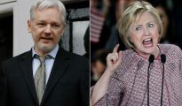 Julian Assange (i) y Hillary Clinton (d).