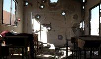 Una escuela libia después de los bombardeos