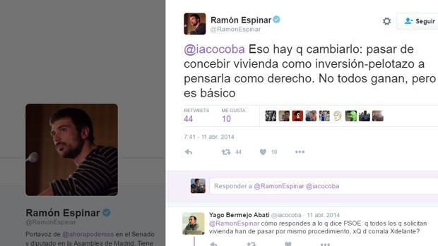 El portavoz de Ahora Podemos en el Senado escribía esto en su Twitter tres años después de protagonizar un pequeño «pelotazo» inmobiliario con vivienda pública