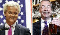 Políticos anti-establishment europeos como el líder del Partido de la Libertad holandés, Geert Wilders (izquierda), y el del Partido por la Independencia del Reino Unido, Nigel Farage (derecha), han dado la bienvenida a Donald Trump y esperan que el auge de éste inspire a los votantes europeos a votar por ellos en niveles nunca vistos.