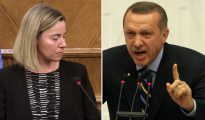 El presidente de Turquía, Recep Tayyip Erdogan (derecha), quiere reinstaurar la pena de muerte en Turquía. Federica Mogherini (izquierda), jefa de la política exterior de la Unión Europea, dice que eso descalificará a Turquía para el ingreso en la UE.