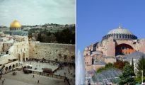 ¿Cómo puede Grecia pedir ayuda a la comunidad global en la cuestión de Santa Sofía (derecha), si sus políticos mantiene una posición neutral sobre el asunto prácticamente idéntico del Monte del Templo (izquierda)?