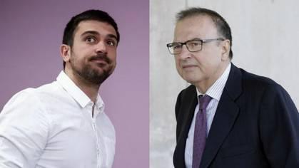 A la izquierda, el portavoz de Podemos, Ramón Espinar; a la derecha, su padre, Ramón Espinar Gallego