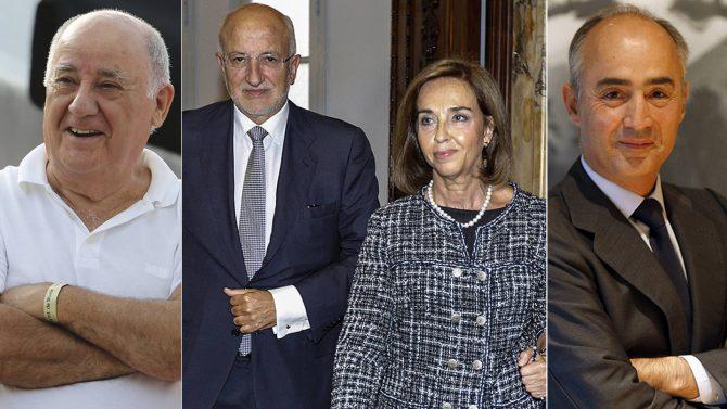 Amancio Ortega, Juan Roig y Hortensia Herrero y Rafael del Pino.