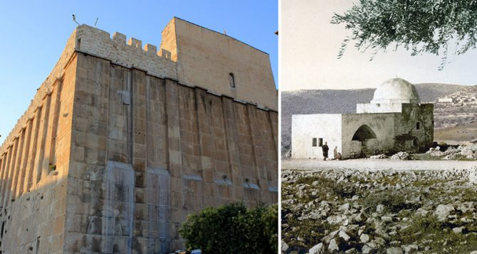 La resolución que niega cualquier vínculo judío con el Monte del Templo de Jerusalén, el más importantes de los lugares sagrados judíos, no representa la primera vez que la Unesco trata de reescribir y falsificar una historia milenaria. Previamente había renominado la Tumba de los Patriarcas en Hebrón (izquierda) como la Mezquita Ibrahimi y la Tumba de Raquel (derecha) como la Mezquita Bilal ben Rabah. (Imágenes: Wikimedia Commons)
