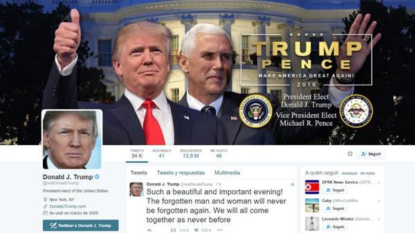 """El nuevo perfil de Twitter de Donald Trump en el que ya se presenta como """"presidente electo"""""""