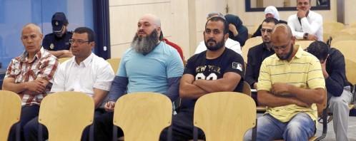 Los integrantes de la brigada Al Andalus, en una sesión del juicio celebrado en la sede de la Audiencia Nacional en San Fernando de Henares (Madrid) el pasado julio