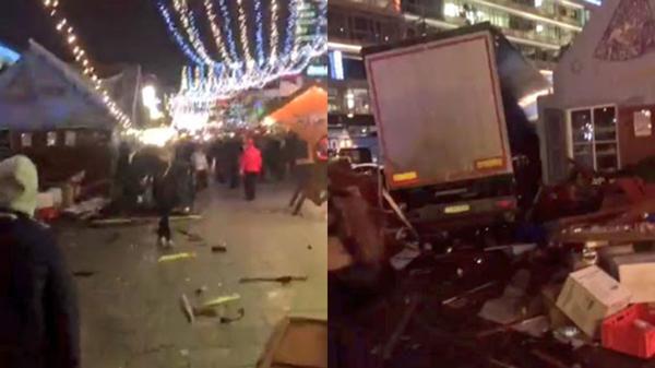 Esta imagen muestra el camión incrustado en el mercado navideño de Berlín
