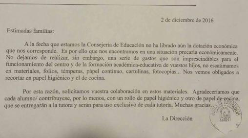 La carta que se envió a los padres