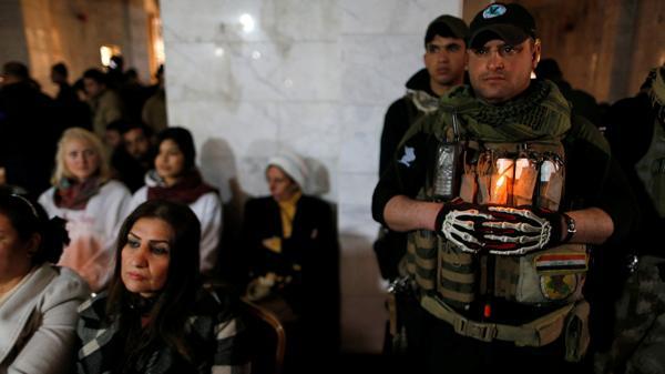 Las fuerzas de seguridad custodiaron la ceremonia religiosa