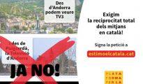 Cartel de Plataforma per la Llengua reivindicando la difusión mediática en catalán