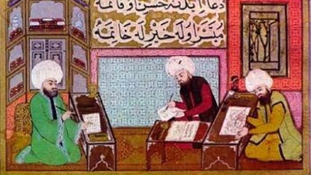 Grabado de una escuela coránica en la España musulmana