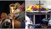 Montaje con la imagen del duelo por la muerte de cristianos tras atentados en El Cairo y Lahore