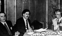Pablo Escobar en el hotel Palace de Madrid celebrando la victoria del PSOE en 1982.