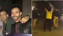 La víctima, Andrés Martínez. Al lado, momento de la agresión.