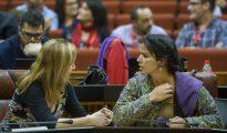 Teresa Rodríguz conversa con su portavoz adjunta en el Parlamento de Andalucía, Carmen Lizárraga