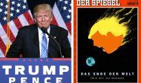 """En Alemania, Der Spiegel, una de las publicaciones con más circulación en Europa, publicó una portada tras la victoria de Donald Trump en las presidenciales norteamericanas con una imagen de un meteoro gigante con la forma de la cabeza de Trump dirigiéndose a la Tierra. El titular decía: """"El fin del mundo (como lo conocemos)""""."""
