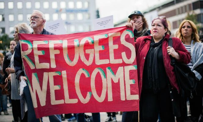 Ciudadanos suecos se manifiestan en apoyo a los refugiados, el pasado mes de septiembre.