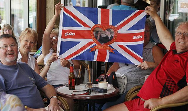 Turistas ingleses en Mallorca.